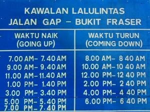 Traffic Schedule Fraser's Hill - Pahang Tourist Attractions